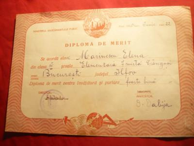 Diploma de Merit - Scoala elementara mixta nr.7 Crangasi Bucuresti 1950 foto