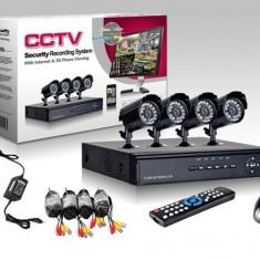 Sistem supraveghere CCTV de interior si exterior cu 4 camere HDMI, DVR, USB