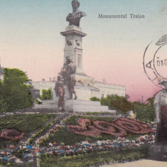 BRAILA MONUMENTUL TRAIAN TCV CIRCULATA 1910 EDITURA GEORGES KOSTOMYRIS BRAILA - Carte Postala Muntenia 1904-1918, Printata