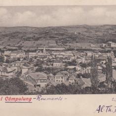 ORASUL CAMPULUNG VEDERE GENERALA CLASICA CIRCULATA 1904 ED. TACHE NICULESCU - Carte Postala Bucovina pana la 1904, Printata, Campulung Moldovenesc