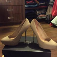 Pantofi cu toc - Pantof dama Zara, Culoare: Bej, Marime: 40