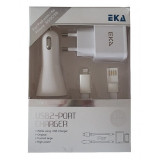 Set incarcator iPhone5 si Ipad 3in1 2.1A EKA-Q61, De priza