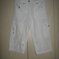 Pantaloni 3/ 4 TCM albi Mar 38/ 40 - Pantaloni dama, Marime: M/L, Trei-sferturi, Bumbac