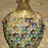 Inedit candelabru lucrat integral manual din sticla cristalizata
