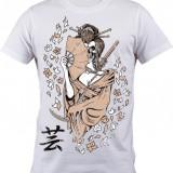 """Tricou personalizat """"Craniu Geisha"""" printeo - Tricou barbati, Marime: S, M, L, XL, XXL, Culoare: Alb, Maneca scurta"""