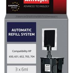 Sistem Kit automat de refill black pentru HP 650 HP 703 HP 704 ActiveJet