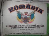 ROMANIA MARE, HARTA FIZICA SI POLITICA,CCA 1920 //CROMOLITO, 176* 120 CM