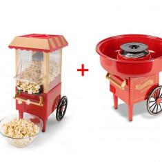 SET Aparat facut popcorn Old Fashioned si Aparat Vata de zahar - Aparat popcorn