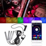 Kit interior LED SMD RGB 32cm si aplicatie telefon - Led auto, Universal