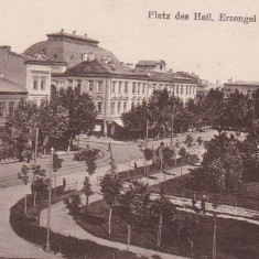 BRAILA PIATA SFINTII ARHANGHELI TRAMVAI CIRCULATA 1917 FELDPOST - Carte Postala Muntenia 1904-1918, Printata