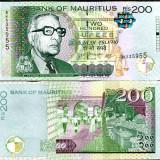 !!! MAURITIUS - 200 RUPII 2010 - P 61 a - UNC / SEMN. DIN SCAN - bancnota africa
