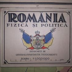 ROMANIA MARE, HARTA FIZICA SI POLITICA, CCA 1925 - Harta Romaniei