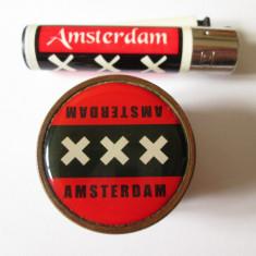 Set:Grinder/rasnita din bronz cu magnet pentru maruntit/tocat tutun+bricheta