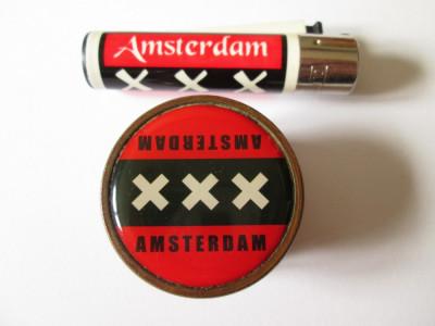 Set:Grinder/rasnita din bronz cu magnet pentru maruntit/tocat tutun+bricheta foto