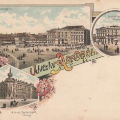SALUTARI DIN ARAD PIATA LIBERTATII CU STATUIA MARTIRILOR TEATRUL LITOGRAFIE - Carte Postala Crisana pana la 1904, Necirculata, Printata