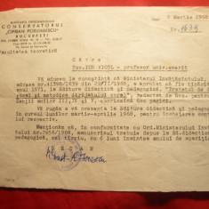Adresa cu Antet a Conservatorului Ciprian Porumbescu catre prof. Ion Vicol 1968