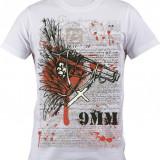 """Tricou personalizat """"9MM"""" printeo - Tricou barbati, Marime: S, M, L, XL, XXL, Culoare: Alb, Maneca scurta"""