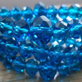 Bratara pe elastic - 3 siruri de cristal Bohemia, discuri fatetate teal
