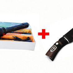 OFERTA FULGER! Lanterna electrosoc autoaparare + Cutit de vanatoare COLUMBIA, Cu lanterna