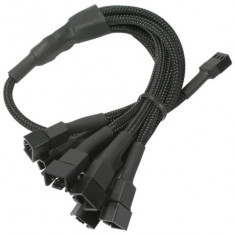 Cablu adaptor pentru ventilatoare Nanoxia 1x 3 pini la 9x 3 pini, 60 cm, negru