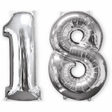 Pachet baloane folii medii numarul 18 argintiu - 66cm, Amscan 35814