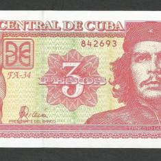 CUBA 3 PESOS 2004, UNC [1] P-127a, necirculata - bancnota america