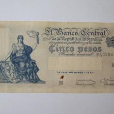 Argentina 5 Pesos 1955 - bancnota america