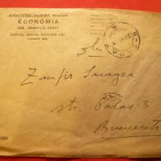 Plic circulat cu 1 leu Ferdinand, Ramnicu-Sarat- Bucuresti, antet Soc. Anonima