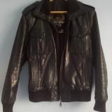 Geaca biker Original Sinner piele - Geaca barbati, Marime: S/M, Culoare: Negru
