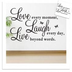 Autocolant Live Laugh Love Fluturi Sticker Perete Slogan 2018 DECOR CAMERA BIROU