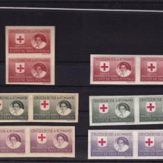ROMANIA1946 CRUCEA ROSIE SERVICIUL PRIZONIERI DE RAZBOI H.ALBA+H.GRI 2 SERII MNH