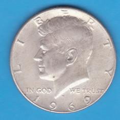 (3) MONEDA DIN ARGINT SUA - HALF DOLLAR 1969, LIT. D - KENNEDY, America de Nord