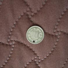 JN. 3 cents 1867 America, USA, SUA, America de Nord