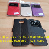 Husa cu inchidere magnetica samsug galaxy S7 edge rosu gold mov si negru - Husa Telefon Samsung, Piele Ecologica, Cu clapeta