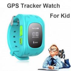 Ceas cu GPS si telefon pentru copii W101 albastru, cu buton SOS