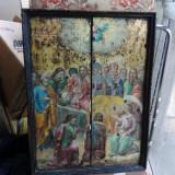 """Icoana veche, deosebita pictura pe lemn """" Adormirea Maicii Domnului """" - Tablou autor neidentificat, Portrete, Ulei, Realism"""