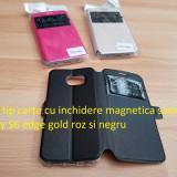 Husa tip carte cu inchidere magnetica samsug galaxy S6 edge gold roz si negru - Husa Telefon Samsung, Piele Ecologica, Cu clapeta
