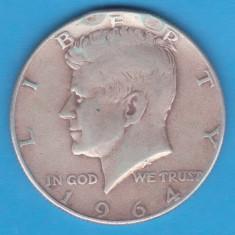 (7) MONEDA DIN ARGINT SUA - HALF DOLLAR 1964, PURITATE 900, 12.5 GR. - KENNEDY, America de Nord