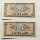 5 LEI 1966-SERII CONSECUTIVE-UNC - Bancnota romaneasca