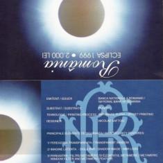 Bancnota 2000 lei eclipsa seria A, UNC + pliant BNR+ plic - Bancnota romaneasca