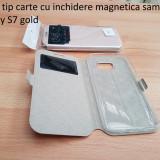 Husa tip carte cu inchidere magnetica samsug galaxy S7 gold - Husa Telefon Samsung, Piele Ecologica, Cu clapeta