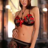 Set Magnetic Negru-Rosu L/XL - Lenjerie sexy femei
