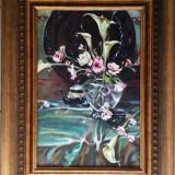"""Pictură de colectie-""""decor imperial""""-ulei pe panza-certificat de autenticitate - Pictor roman, Flori, Impresionism"""