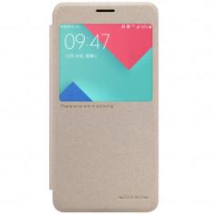 Flip Cover, Nillkin, Sparkle leather pentru Samsung Galaxy A3 (2017), gold