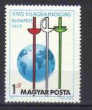 UNGARIA 1975, Campionatele Mondiale de Scrima, Budapesta, MNH, serie neuzata, Nestampilat