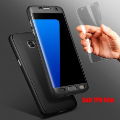 360 full body carcasa + folie pt Samsung Galaxy S7 Edge husa protectie maxima, Negru