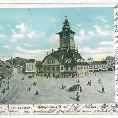 3069 - Litho, BRASOV, Market - old postcard - used - 1903 - Carte Postala Transilvania pana la 1904, Circulata, Printata