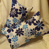 Set pernute decorative Flori Albastre - bumbac - Perna