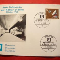 Carton filatelic aniversar - Statia de Metrou Kohln1968 RFG