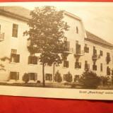 Ilustrata Baile Buzias - Hotel Muschong, circulat 1930, Ed. Klauber Basar Buzias - Carte Postala Transilvania dupa 1918, Circulata, Printata